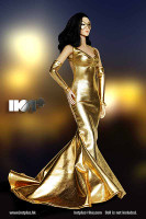 Shimmering Evening Dress (Gold) - Packaged Accessory Set
