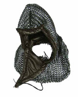 Knight Templar Crusader Brother - Chainmail Hood w/ Leather