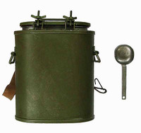 "German Army Supply Duty Hans & Bastian - Soup Dispenser Can w/ Ladle (3"" Tall by 2.75"" wide Metal)"