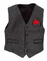 Gangster Kingdom: Heart A Billy - Black Pinstriped Vest w/ Sewn In Red Handkerchief