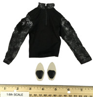 Black Python Camo Combat Suit Set - Shirt w/ Elbow Pads