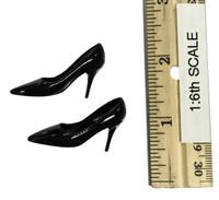 Female Sexy Leopard Dress Set - High Heels (Black)
