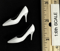 Bare Shouldered Evening Dress - High Heels (White)