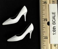 Bare Shouldered Evening Dress - High Heels (White)