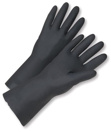 "18"" Black Fully Coated PVC Work Gloves  ## 280 ##"