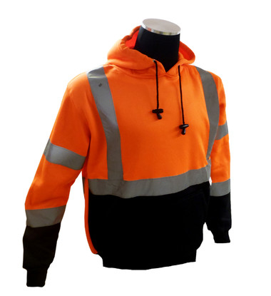 Sweatshirt with hood, high visibility orange and black, ANSI Class 3 ##75-5328 ##