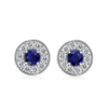 Ethical Diamond and Blue Sapphire Diamond Halo Earrings