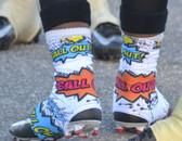 """White """"Ball Out"""" Spats( cleat covers)"""