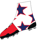 "White, Navy Blue, and Red ""Super Star"" Spats( cleat covers)"