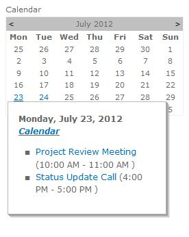 Calendar / Multi Calendar Web Part