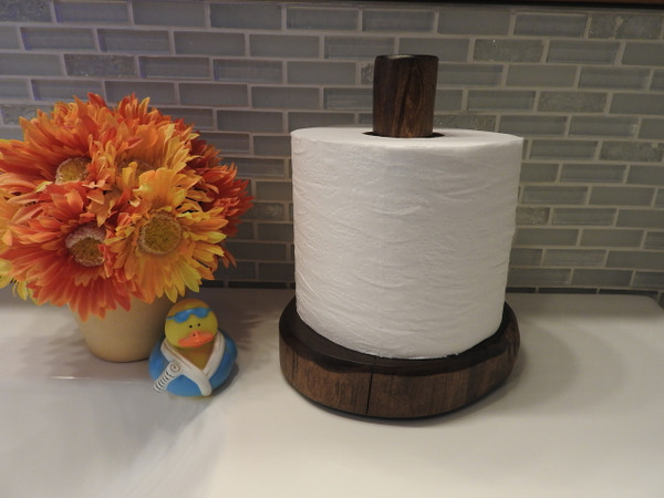 Log Toilet Paper Holder Countertop (Espresso)
