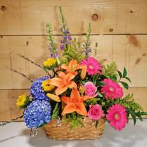 Spring Garden Flower Basket