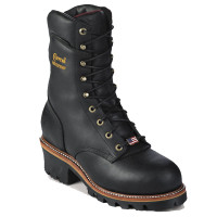 Chippewa 25411 Black Waterproof Logger Plain Toe Boot