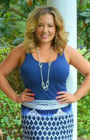 So Very Luxe Wide Strap Cami   -  Navy