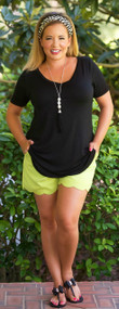 Sunset Celebration Scallop Short  -  Kiwi***FINAL SALE***