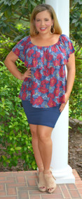 All Around Me Pencil Skirt   -  Bright Navy***FINAL SALE***