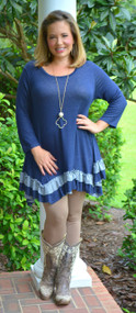 Let's Talk Tunic  -  Denim Blue***FINAL SALE***