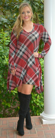 Autumn Chill Dress  -  Red & Black