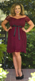 Lovely In Lace Dress  -  Burgundy***FINAL SALE***