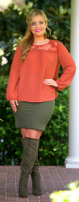 All Around Me Pencil Skirt  -  Olive***FINAL SALE***