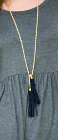 Hanging On By A Thread Necklace - Navy***FINAL SALE***