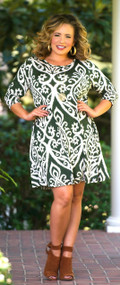 The Grass Is Greener Dress - Hunter Green & Ivory