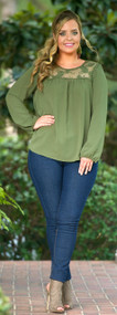 Delicate Dose Of Dainty Top - Olive***FINAL SALE***