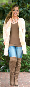 Holy Smokes Cardigan  -  Pink & Cream***FINAL SALE***