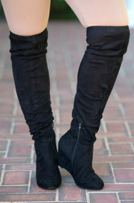 The Tristan Wide Calf  Knee Boot  -  Black