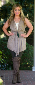 Twist And Shout Vest  -  Taupe***FINAL SALE***