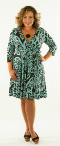 The Tides Are Turning Wrap Dress - Black & Mint***FINAL SALE***