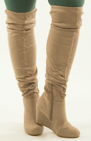 Tristan Wide Calf Knee Boot  -  Taupe***FINAL SALE***