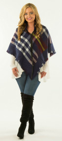Covered In Your Love Poncho  -  Purple & Navy***FINAL SALE***
