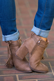 Perfect Pair Tassel Bootie  -  Taupe***FINAL SALE***