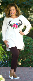 Deer In The Headlights Tunic  -  Cream