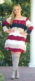 Across The Universe Dress - Navy & Wine***FINAL SALE***