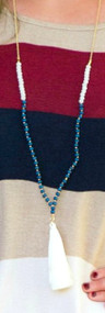 Jazz It Up Tassel Necklace  -  Blue***FINAL SALE****