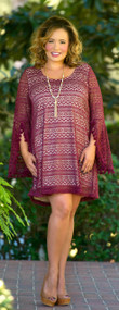 Whispers In The Wind Dress  - Wine***FINAL SALE***
