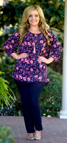 Pocket Full Of Posies Top  -  Navy***FINAL SALE***