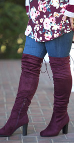 Cute To Boot Knee High Boots  - Wine***FINAL SALE***
