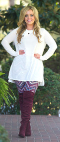 Cute As A Button Tunic  -  Ivory
