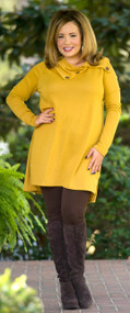 Cute As A Button  Tunic  -  Mustard