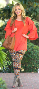 Don't Ruffle My Feathers Top  -  Rust***FINAL SALE***