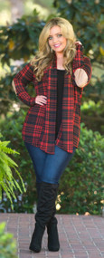 Happy Harvest Cardigan  -  Red & Black