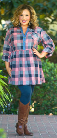 Easy Living Tunic  -  Red & Navy***FINAL SALE***