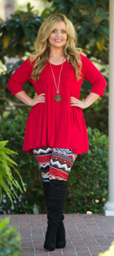 Topped With A Bow Tunic  -  Red