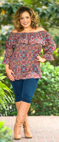 Downtown Abby Top - Burgundy***FINAL SALE***