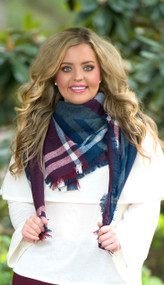 Touch And Go Blanket Scarf  -  Navy & Wine