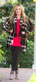 Sugar And Spice Cardigan  -  Brown & Red