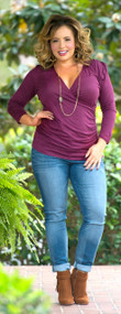 Cross My Heart Top  -  Burgundy